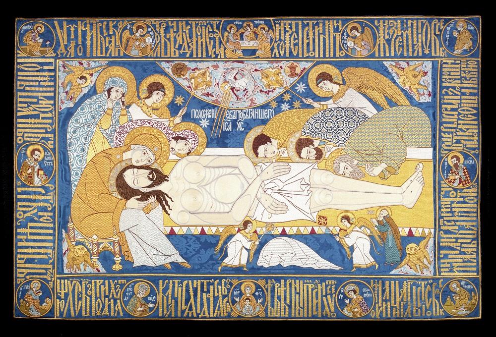 """Плащаница """"Положение во гроб"""". У гроба с телом Христа изображены Богоматерь, Мария Магдалина, св. Иоанн Богослов, св. Иосиф и Никодим"""